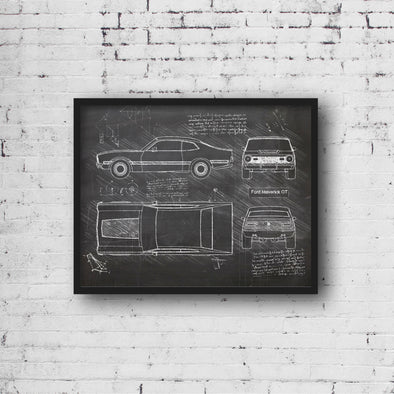 Ford Maverick GT (1970-77) da Vinci Sketch Art Print (#883)