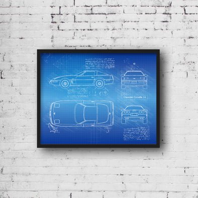 Chevrolet Corvette C4 (1985-90) da Vinci Sketch Art Print (#884)