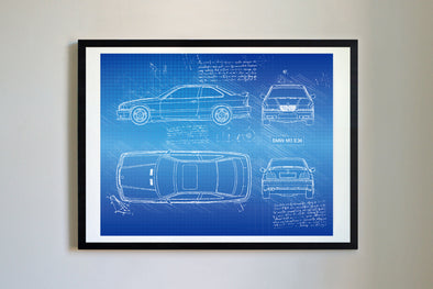 BMW M3 E36 (1992-99) da Vinci Sketch Art Print (#783)