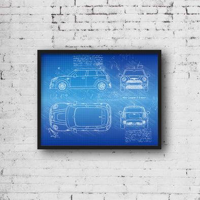 Mini Cooper S 5-Door (2016-Present) da Vinci Sketch Art Print (#895)