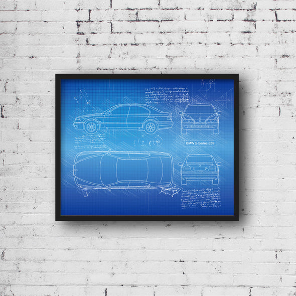 BMW 5-Series E39 (1997-03) da Vinci Sketch Art Print (#890)