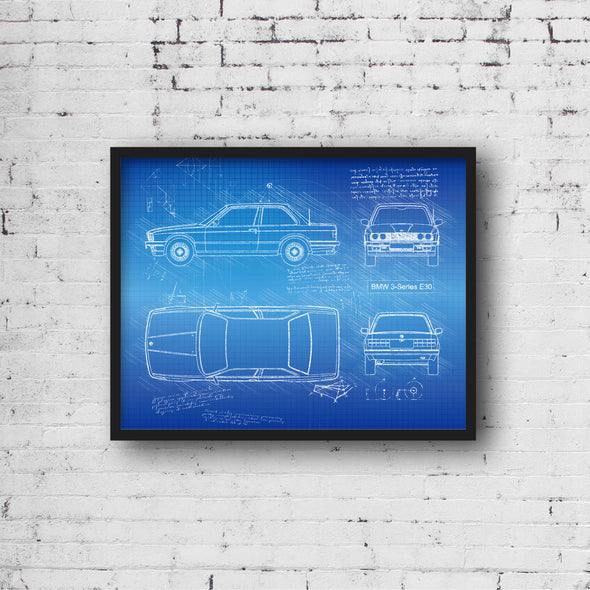 BMW 3-Series E30 (1982-93) da Vinci Sketch Art Print (#956)