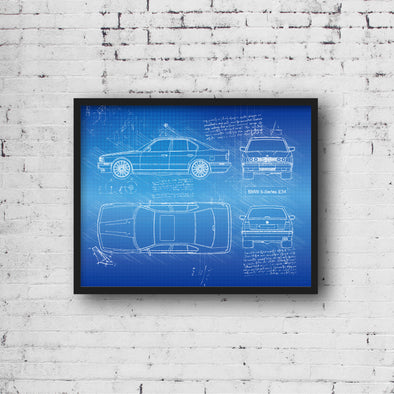 BMW 5-Series E34 (1990-96) da Vinci Sketch Art Print (#945)