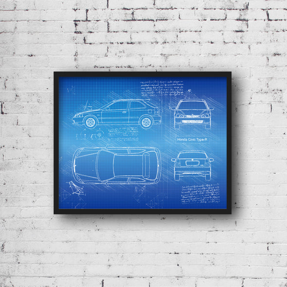 Honda Civic Type-R (1997-00) da Vinci Sketch Art Print (#861)