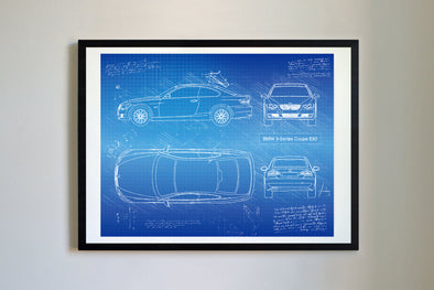 BMW 3-Series Coupe E92 (2007-11) da Vinci Sketch Art Print (#751)