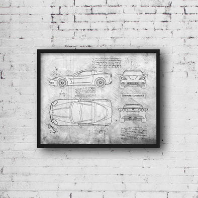 Chevrolet Corvette C6 (2004-13) da Vinci Sketch Art Print (#901)