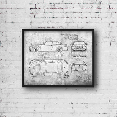 BMW M4 Convertible (2014-18) da Vinci Sketch Art Print (#926)