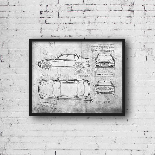 BMW 3-Series F30 (2012-18) da Vinci Sketch Art Print (#922)