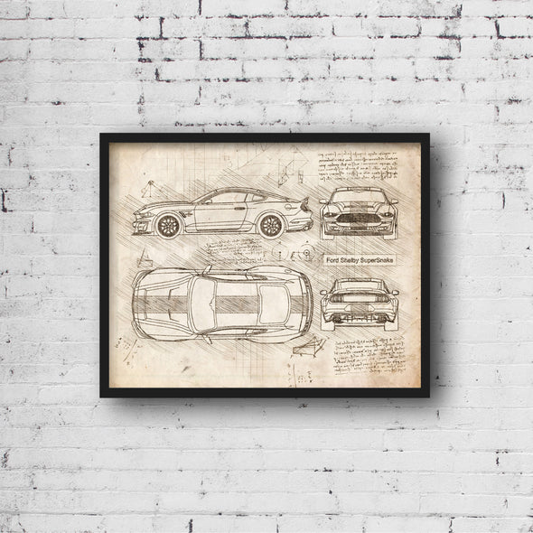 Ford Shelby SuperSnake (2020) da Vinci Sketch Art Print (#968)