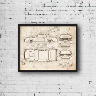 Buick Regal GNX (1987) da Vinci Sketch Art Print (#938)