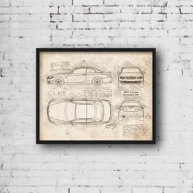 BMW 3-Series Convertible E93 (2007-11) da Vinci Sketch Art Print (#991)