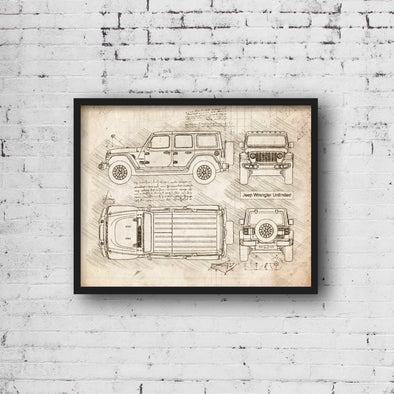 Jeep Wrangler Unlimited (2018-Present) da Vinci Sketch Art Print (#853)