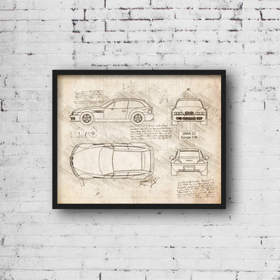 BMW Z3 Coupe E36 (1999-02) da Vinci Sketch Art Print (#865)