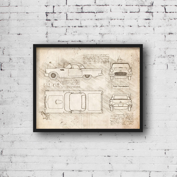 Ford Thunderbird (1955-57) da Vinci Sketch Art Print (#903)