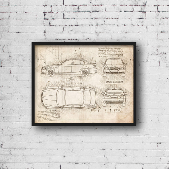 BMW 3-Series E90 (2005-11) da Vinci Sketch Art Print (#914)