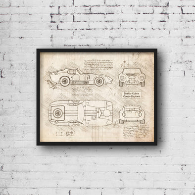 Shelby Cobra Coupe Daytona (1964) da Vinci Sketch Art Print (#876)