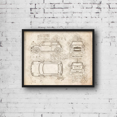 Mini Cooper R56 (2007-13) da Vinci Sketch Art Print (#916)