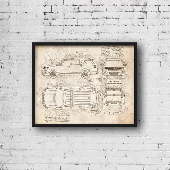 Ford Explorer Police Interceptor (2016-Present) da Vinci Sketch Art Print (#946)