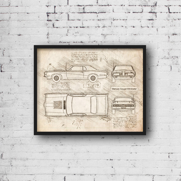 Mercury Cougar Eliminator (1970) da Vinci Sketch Art Print (#899)
