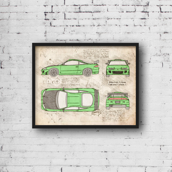 Mitsubishi Eclipse Fast and Furious (1995) da Vinci Sketch Art Print (#1000)