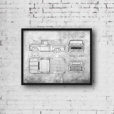 Chevrolet C-10 Low Rider Sketch Art Print - Sketch Style, Car Patent, Blueprint Poster, Blue Print, Chevy C-10 Truck Art (P816)
