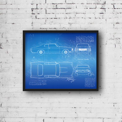 Chevrolet Chevelle (1970) Sketch Art Print - Sketch Style, Car Patent, Poster, Blue Print, Chevelle Car Decor, Poster (P830)