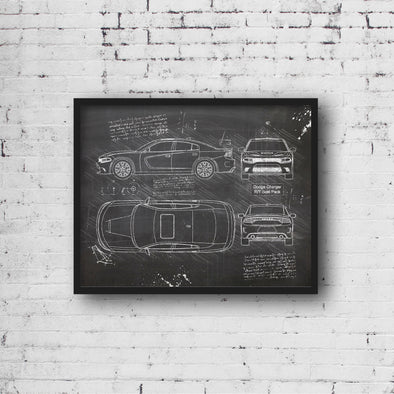 Dodge Charger RT Scat Pack (2018) Sketch Art Print - Sketch Style, Car Patent, Patent, Blueprint Poster, Blue Print (P522)