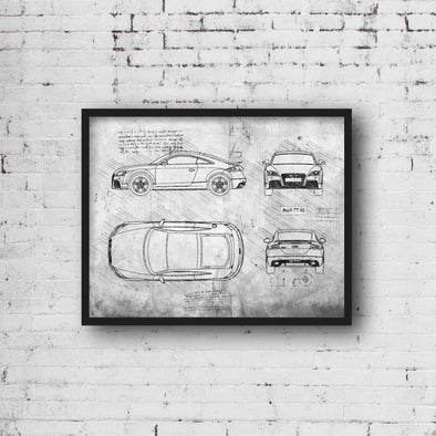 Audi TT RS Coupe (2009 - 14) Sketch Art Print - Sketch Style, Blue Print Poster, Spyder Car, Audi Art, Audi Coupe Poster (P824)