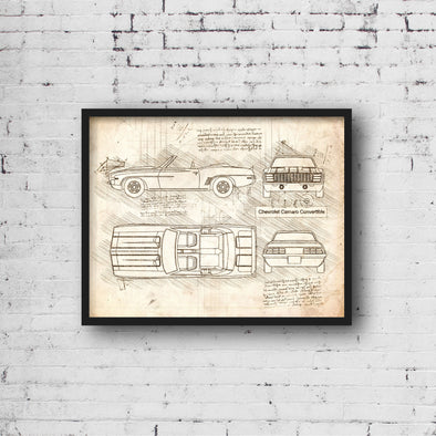 Chevrolet Camaro Convertible (1967 - 1969) Sketch Art Print - Sketch Style, Car Patent, Blue Print Poster, Camaro Decor (P653)