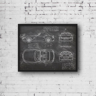 BMW Z4 Roadster E85 (2002-08) da Vinci Sketch Art Print Blackboard