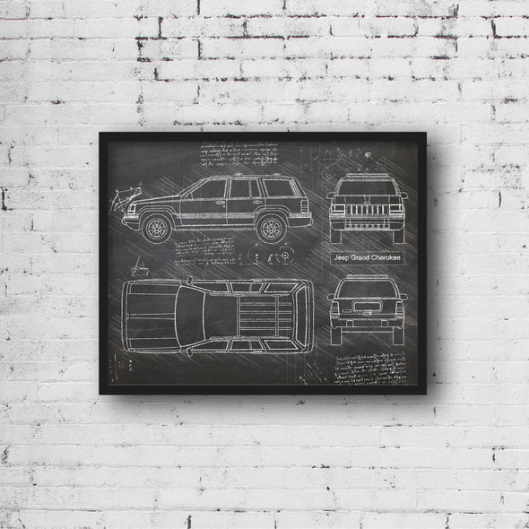 Jeep Grand Cherokee (1993-98) da Vinci Sketch Art Print Blackboard