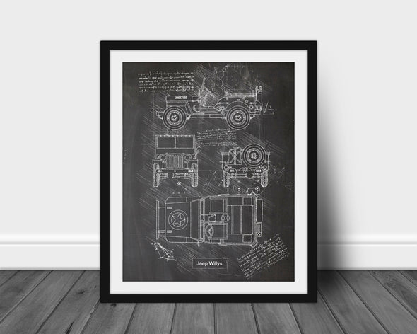 Jeep Willys (1942) da Vinci Sketch Art Print Blackboard