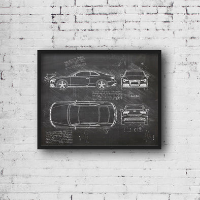 Audi S5 Coupe (2012-16) da Vinci Sketch Art Print Blackboard