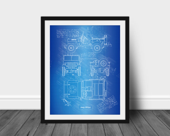 Jeep Willys (1942) da Vinci Sketch Art Print Blueprint