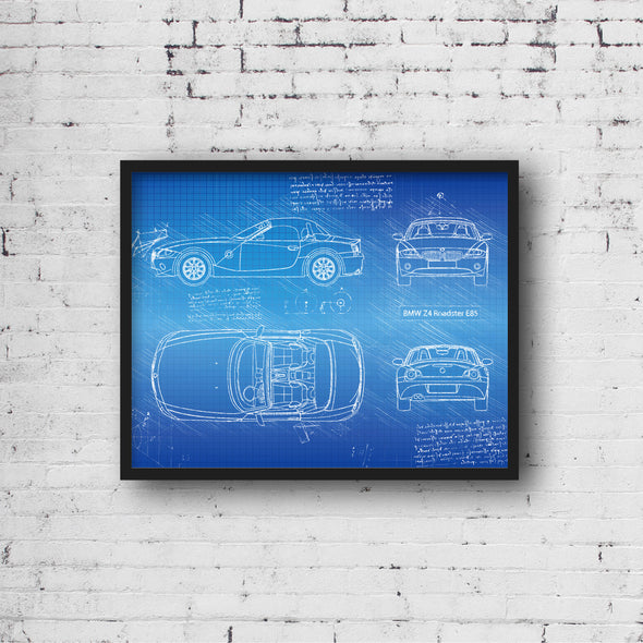 BMW Z4 Roadster E85 (2002-08) da Vinci Sketch Art Print Blueprint
