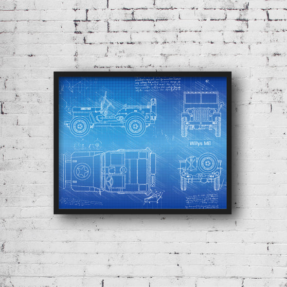 Willys MB (1942) da Vinci Sketch Art Print Blueprint