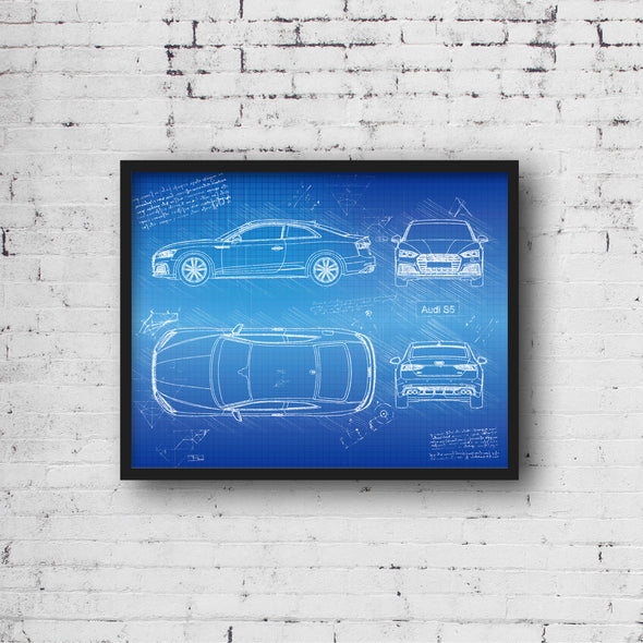 Audi S5 Coupe (2017-Present) da Vinci Sketch Art Print Blueprint