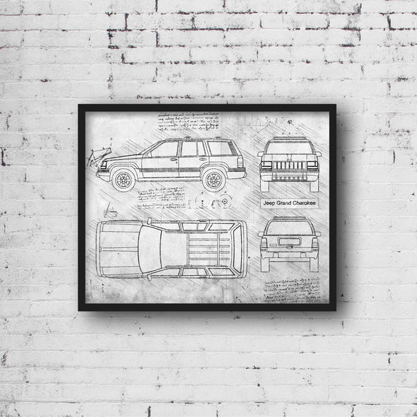 Jeep Grand Cherokee (1993-98) da Vinci Sketch Art Print Grunge