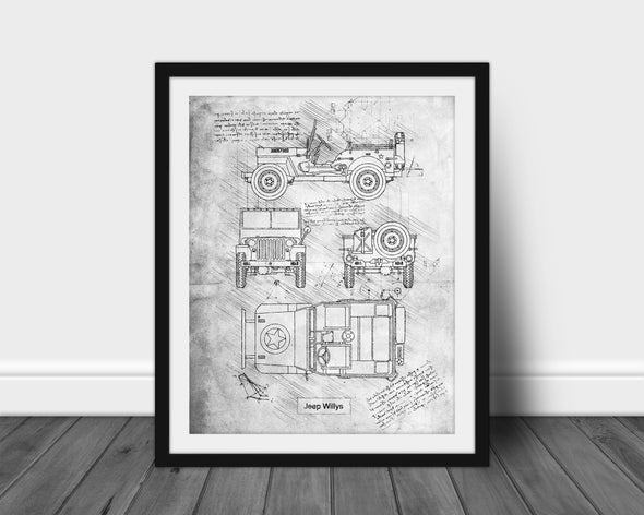 Jeep Willys (1942) da Vinci Sketch Art Print Grunge