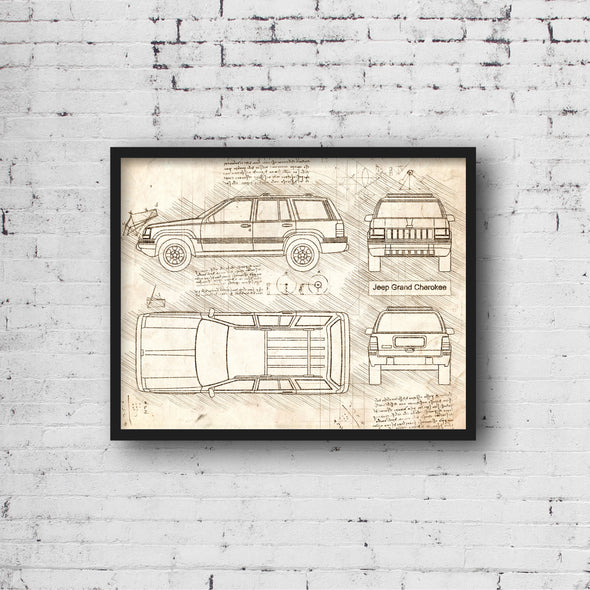Jeep Grand Cherokee (1993-98) da Vinci Sketch Art Print Vintage