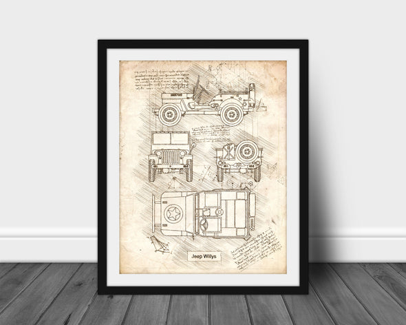 Jeep Willys (1942) da Vinci Sketch Art Print Vintage