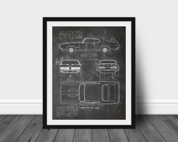 Pontiac GTO The Judge (1969) da Vinci Sketch Art Print (#609)