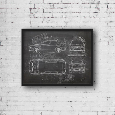 Mitsubishi Lancer Evolution X (2006-16) da Vinci Sketch Art Print (#480)