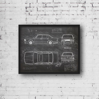 BMW M5 E28 (1985-88) da Vinci Sketch Art Print (#749)