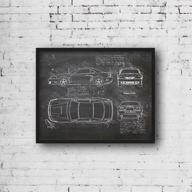 Saleen S281 (2000) da Vinci Sketch Art Print (#642)