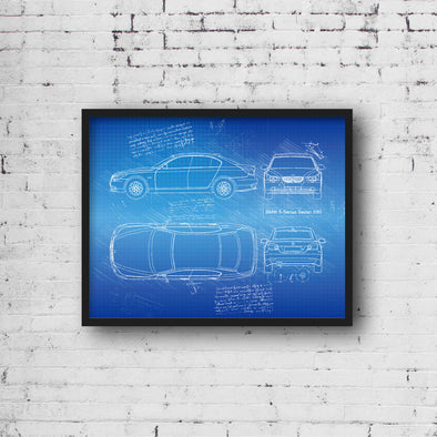 BMW 5-Series E60 (2004-10) da Vinci Sketch Art Print (#455)