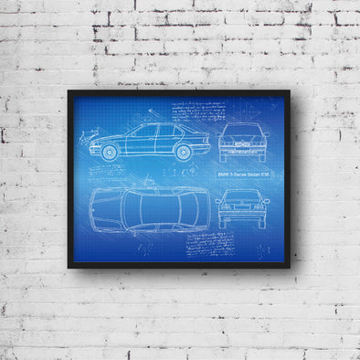 BMW 3-Series E36 (1990-98) da Vinci Sketch Art Print (#650)
