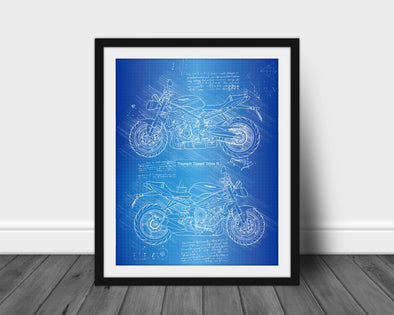Triumph Speed Triple R (2017-Present) da Vinci Sketch Art Print (#678)