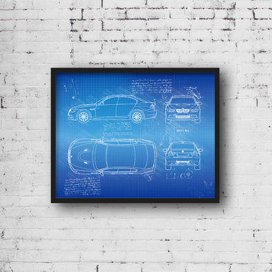 BMW M3 E90 (2007-13) da Vinci Sketch Art Print (#670)