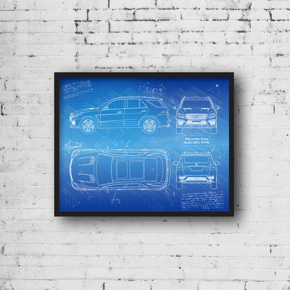 Mercedes-Benz ML63 AMG W166 (2012-Present) da Vinci Sketch Art Print (#753)